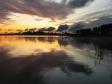 Нилова Пустынь. Рассвет над монастырем. Озеро Селигер.