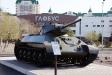 Музей военной техники. Т-34. Советский средний танк. Боевая масса - 25,6-32т. Экипаж - 4чел. Скорость - 54км/ч. Калибр - 76мм.  Главный конструктор танка - М.И. Кошкин. (Выпускался серийно с 1940 года).