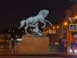 Ночной Невский проспект. Скульптура Аничкова моста «Укрощение коней». Установлена в 1850г.