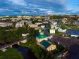 Фотографии Соликамска с высоты. Исторический центр Соликамска. Улица Всеобуча. Мост Влюбленных.