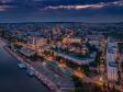 Взгляд с высоты на Саратов и Волгу . Речной вокзал Саратова и набережная Космонавтов