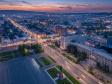 Взгляд с высоты на Саратов и Волгу . Саратовская улица Московская, Театральная площадь и памятник Ленину