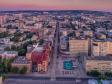 Взгляд с высоты на Саратов и Волгу . Саратовские улица Радищева и проспект Кирова на рассвете