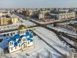 Тольятти с высоты (2021). Перекрёсток улиц Ворошилова и Дзержинского. Храм в честь Покрова Пресвятой Богородицы