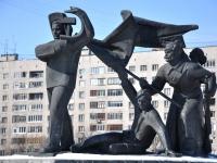 Нижний Новгород, улица Советская. скульптурная композиция Рабочий и красноармейцы